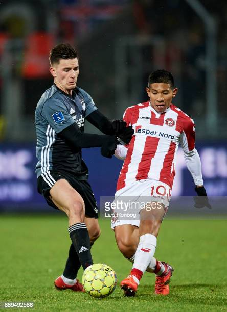 Benjamin Verbic of FC Copenhagen and Edison Flores of AaB Aalborg compete for the ball during the Danish Alka Superliga match between AaB Aalborg and...