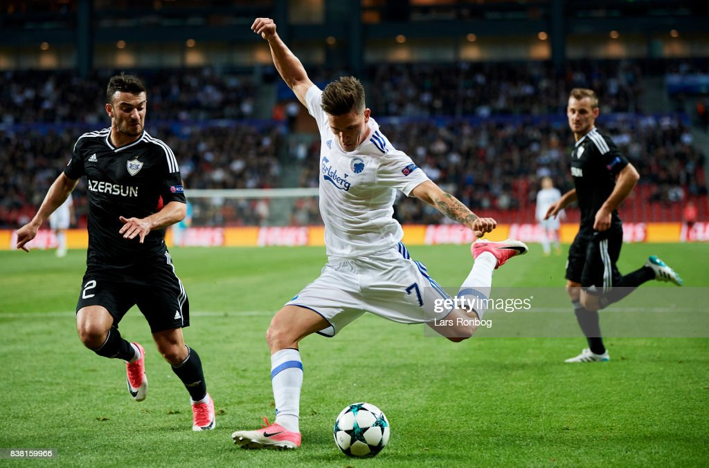 Benjamin Verbic of FC Copenhagen in action against Gara Garayev of Qarabag FK during the UEFA Champions League Playoff 2nd Leg match between FC Copenhagen and Qarabag FK at Telia Parken Stadium on August 23, 2017 in Copenhagen, Denmark.
