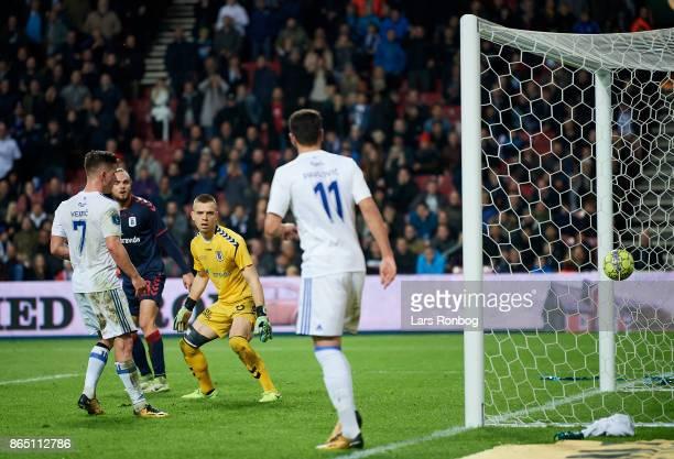 Benjamin Verbic of FC Copenhagen scores the 20 goal against Goalkeeper Aleksandar Jovanovic of AGF Aarhus the Danish Alka Superliga match between FC...