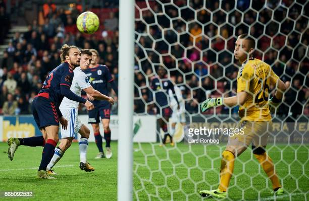 Benjamin Verbic of FC Copenhagen scores there 30 goal against Goalkeeper Aleksandar Jovanovic of AGF Aarhus during the Danish Alka Superliga match...