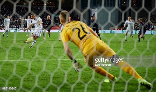 Benjamin Verbic of FC Copenhagen with a penalty shoot but misses against Goalkeeper Aleksandar Jovanovic of AGF Aarhus during the Danish Alka...