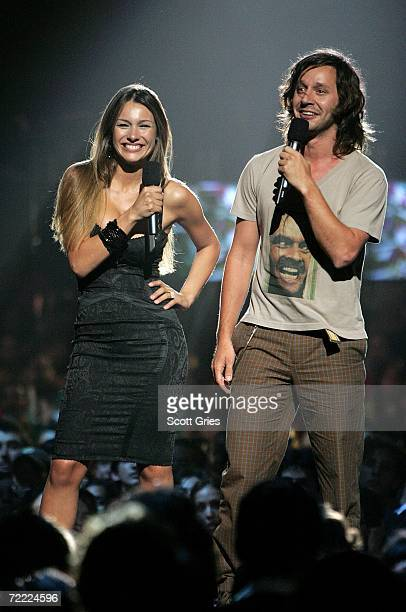 Benjamin Vicuna and Model Carolina Pampita Ardohain appear onstage at the Los Premios MTV Latino America 2006 at the Palacio De Los Deportes October...