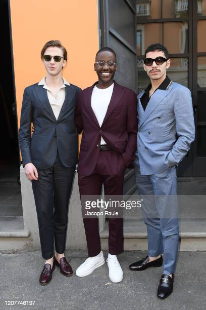 Benjamin Voisin, Ncuti Gatwa and Sami Outalbali attend the Tod's show at Milan Fashion Week Autumn/Winter 2020/21 on February 21, 2020 in Milan,...