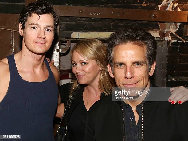 Benjamin Walker Christine Taylor and Ben Stiller pose backstage at the hit musical based on the cult film 'American Psycho' on Broadway at The...