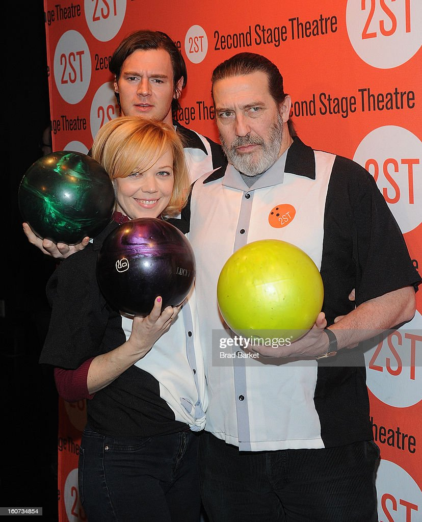 Benjamin Walker, Emily Bergl, and Ciarin Hinds attend the Second Stage Theatre's 26th Annual All-Star Bowling Classic at Lucky Strike on February 04, 2013 in New York City.