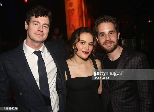 Benjamin Walker Francesca Carpanini and Ben Platt pose at the after party for The Roundabout Theater Company's production of Arthur Miller's All My...