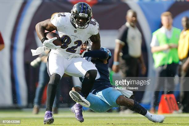 Benjamin Watson of the Baltimore Ravens is tackled against the Tennessee Titans at Nissan Stadium on November 5 2017 in Nashville Tennessee