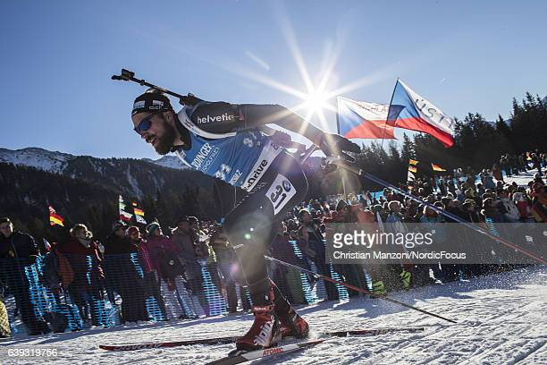 Benjamin Weger of Switzerland competes during the 20 km men's Individual on January 20, 2017 in Antholz-Anterselva, Italy.