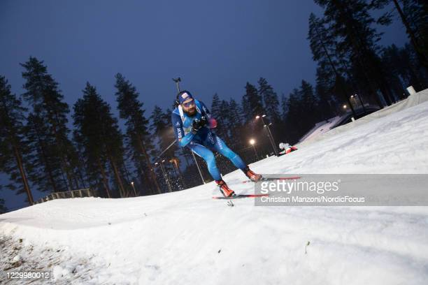 Benjamin Weger of Switzerland competes during the Men 4x7.5 km Relay Competition at the BMW IBU World Cup Biathlon Kontiolahti at on December 6, 2020...