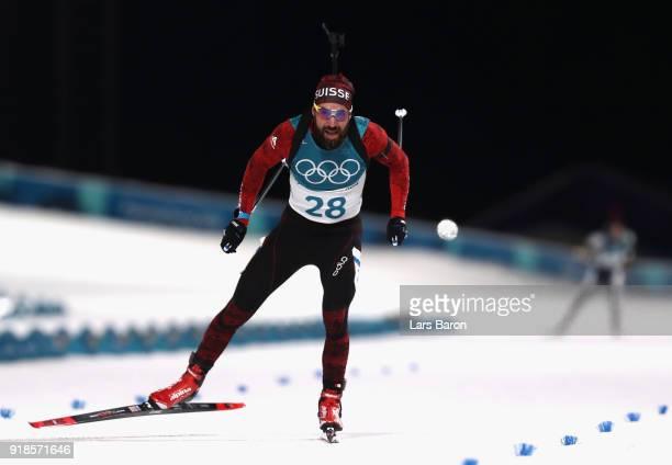 Benjamin Weger of Switzerland finishes during the Men's 20km Individual Biathlon at Alpensia Biathlon Centre on February 15 2018 in Pyeongchanggun...