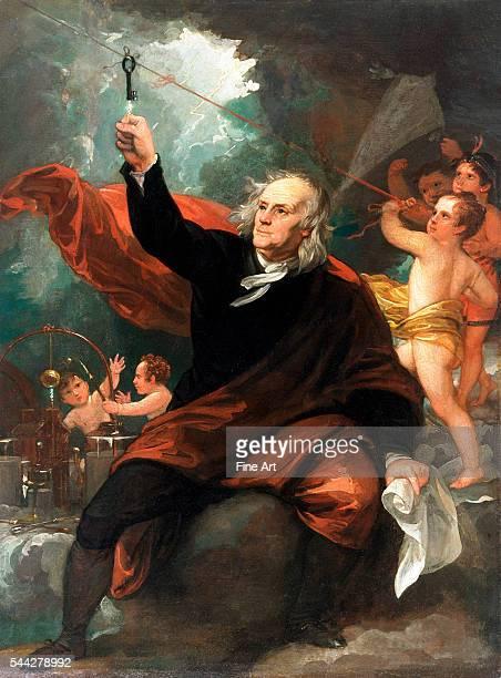 Benjamin West Benjamin Franklin Drawing Electricity from the Sky c 1816 oil on slate 3401 x 2563 mm Philadelphia Museum of Art Philadelphia PA