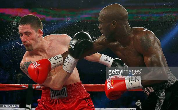 Benjamin Whitaker lands a punch against Skender Halili in the sixth round of their welterweight bout at College Park Center on April 18 2015 in...