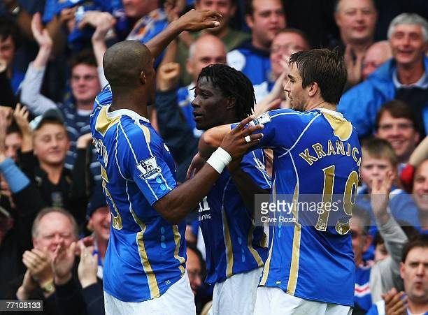 Benjani of Portsmouth celebrates his goal during the Barclays Premier League match between Portsmouth and Reading at Fratton Park on September 29...