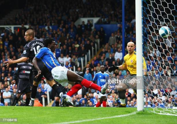 Benjani of Portsmouth scores during the Barclays Premier League match between Portsmouth and Reading at Fratton Park on September 29 2007 in...