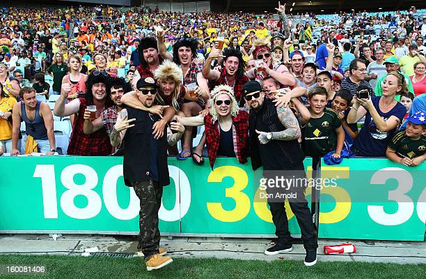 Benji and Joel Madden pose with fans just prior to commencement of the Twenty20 international match between Australia and Sri Lanka at ANZ Stadium on...