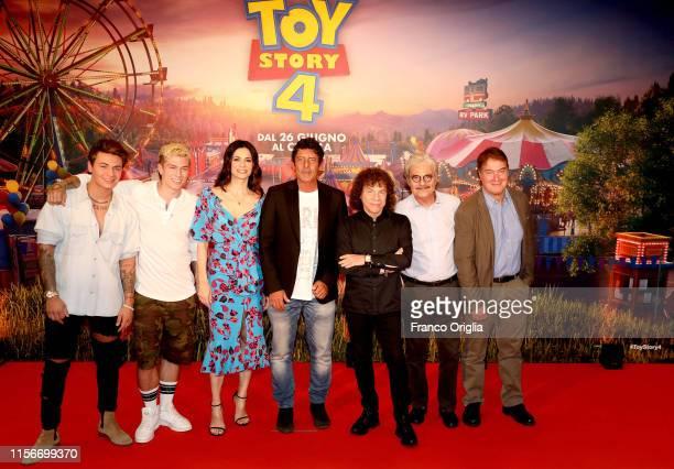 Benji Fede Rossella Brescia Luca Laurenti Riccardo Cocciante Massimo Dapporto and Corrado Guzzanti attend the Toy Story 4 photocall at Hotel Parco...