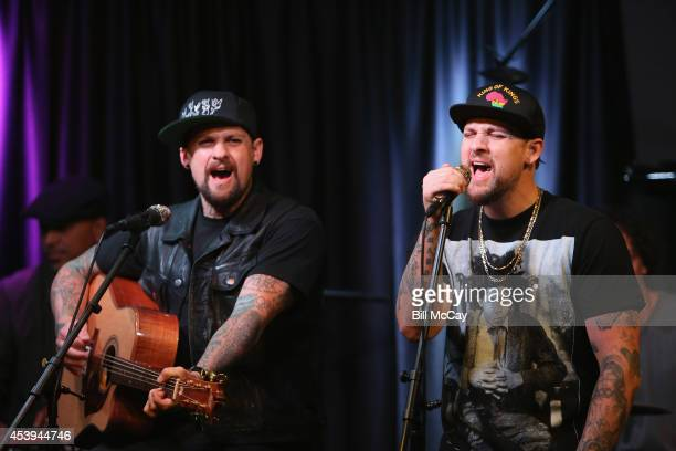 Benji Madden and Joel Madden perform at Q102 Performance Theater August 21 2014 in Bala Cynwyd Pennsylavania