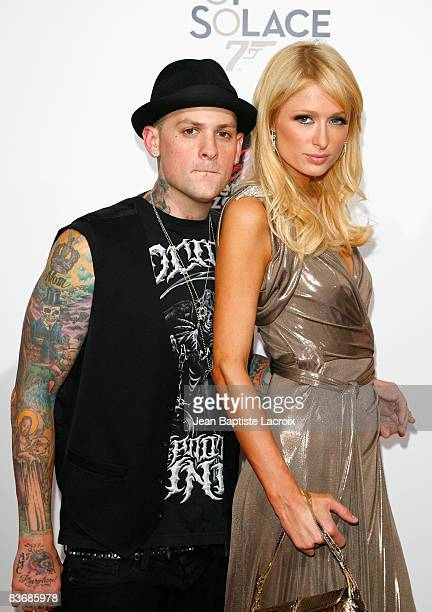 """Benji Madden and Paris Hilton arrives at the pre-screening of """"Bond 007: Quantum Of Solace"""" on November 13, 2008 in Los Angeles, California."""