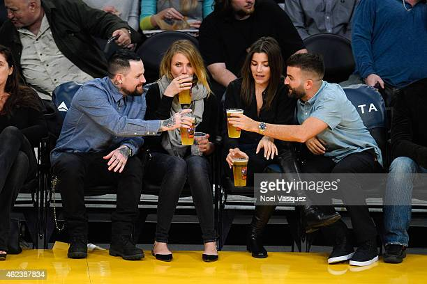 Benji Madden Cameron Diaz Stellina B and David Katzenberg attend a basketball game between the Washington Wizards and the Los Angeles Lakers at...