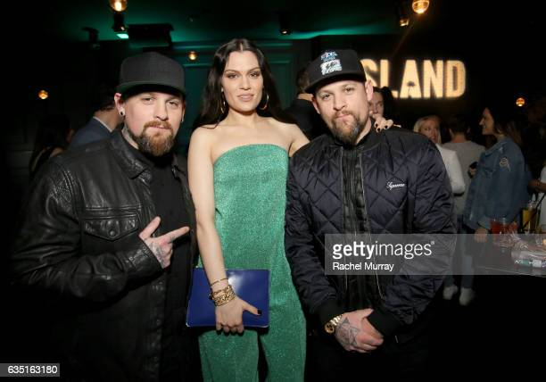Benji Madden Jessie J and Joel Madden attend Island Records PreGrammy Party presented by Foursquare with additional partners Young Living Ultimate...