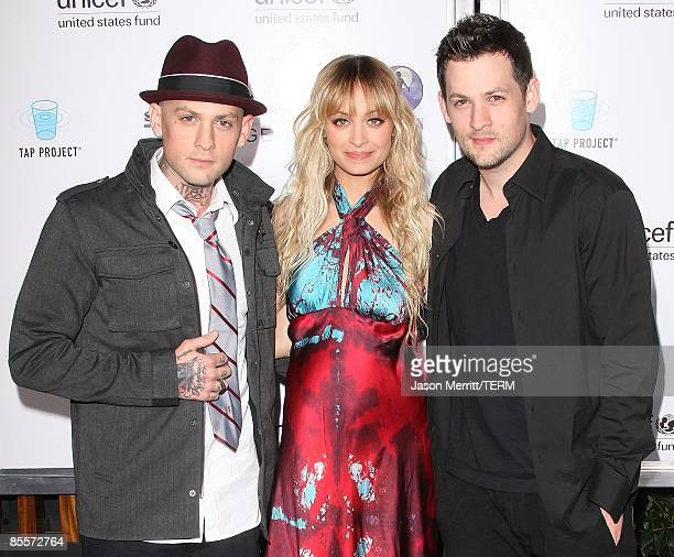 Benji Madden, Nicole Richie and Joel Madden arrive to the Sony Cierge and The Richie-Madden Children's Foundation's private cocktail event to raise...