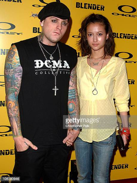 Benji Madden of Good Charlotte with guest during Blender/Oakley X Games Party - Arrivals at The Key Club in Los Angeles, California, United States.