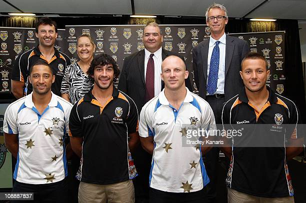Benji Marshall Johnathan Thurston Darren Lockyer Scott Prince Laurie Daley Robyn Williams William 'Smiley' Johnstone and David Gallop pose for a...