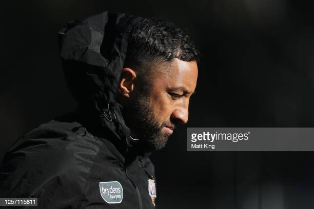 Benji Marshall looks on during a Wests Tigers NRL training session at St. Luke's Park North on July 20, 2020 in Sydney, Australia.