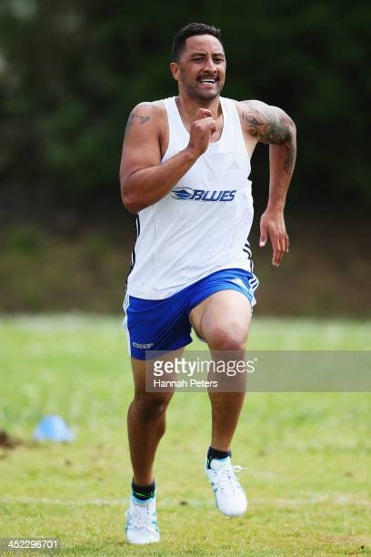 Benji Marshall of the Blues takes part in fitness testing during an Auckland Blues Super Rugby preseason training session at Unitec on November 28...