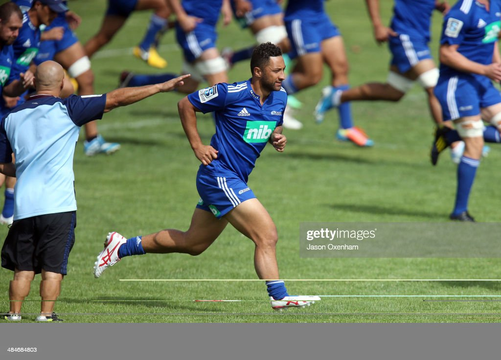 Benji Marshall of the Blues warms up out during an Auckland Blues Super Rugby training session at Unitec on April 14, 2014 in Auckland, New Zealand.