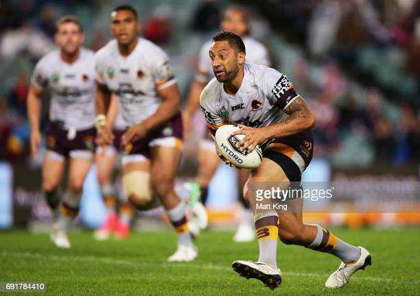 Benji Marshall of the Broncos runs with the ball during the round 13 NRL match between the Sydney Roosters and the Brisbane Broncos at Allianz...