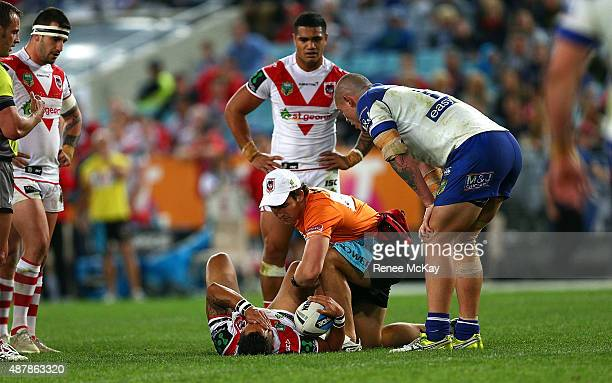 Benji Marshall of the Dragons is injured during the NRL Elimination Final match between the Canterbury Bulldogs and the St George Illawarra Dragons...