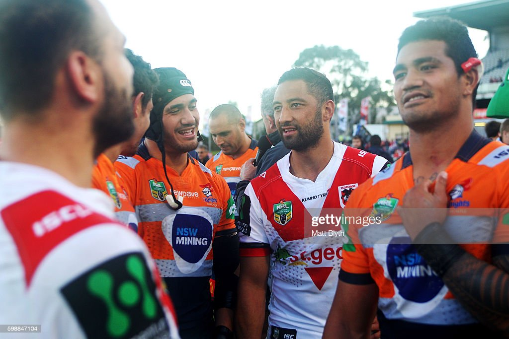 Benji Marshall of the Dragons talks after the round 26 NRL match between the St George Illawarra Dragons and the Newcastle Knights at WIN Jubilee Stadium on September 3, 2016 in Sydney, Australia.