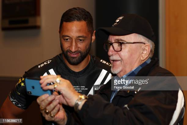 Benji Marshall of the Kiwis catches up with the Mad Butcher Sir Peter Leitch during a New Zealand Kiwis media opportunity at Skycity Convention...