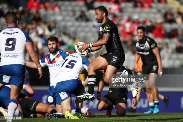 Benji Marshall of the Kiwis gets some air during the International Rugby League Test Match between the New Zealand Kiwis and the Great Britain Lions...