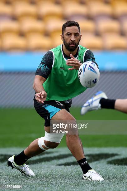 Benji Marshall of the Kiwis passes during the New Zealand Kiwis Rugby League captain's run at Mt Smart Stadium on June 21, 2019 in Auckland, New...