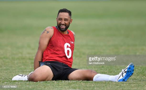 Benji Marshall of the Maori All Stars looks on during a Maori Men's All Star training session at Jack Manski Oval on February 17, 2021 in Townsville,...