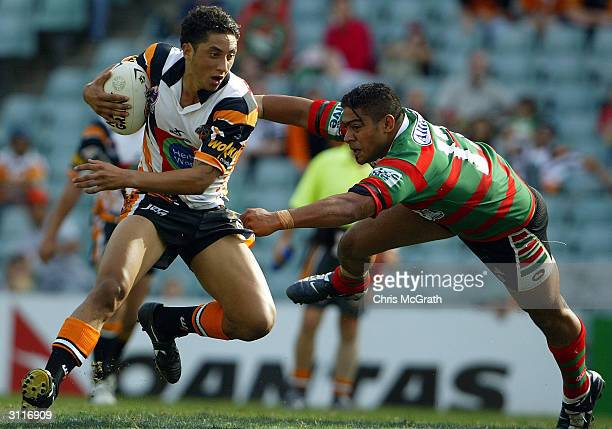 Benji Marshall of the Tigers in action during the NRL round two match between the Wests Tigers and the South Sydney Rabbitohs played at Aussie...