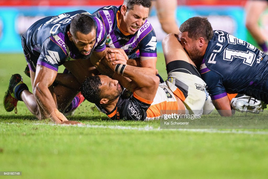 Benji Marshall of the Tigers is tackled during the round five NRL match between the Wests Tigers and the Melbourne Storm at Mt Smart Stadium on April 7, 2018 in Auckland, New Zealand.