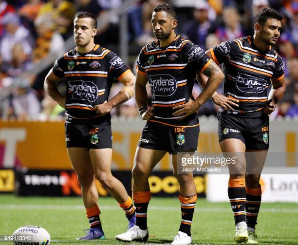 Benji Marshall of the Tigers looks dejected during the round seven NRL match between the Wests Tigers and the Newcastle Knights at Scully Park on...