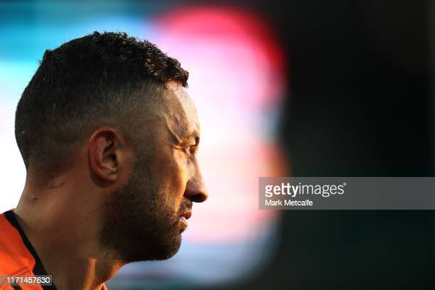 Benji Marshall of the Tigers looks on during the round 24 NRL match between the St George Illawarra Dragons and the Wests Tigers at Sydney Cricket...