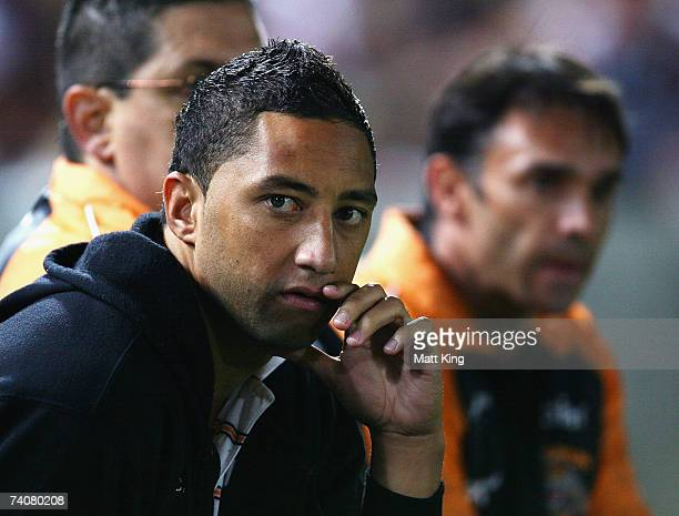 Benji Marshall of the Tigers sits on the bench with an injury during the round eight NRL match between the Wests Tigers and the Melbourne Storm at...