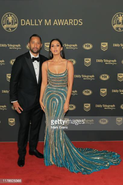 Benji Marshall of the Wests Tigers and wife Zoe Marshall arrive ahead of the 2019 Dally M Awards at the Hordern Pavilion on October 02, 2019 in...