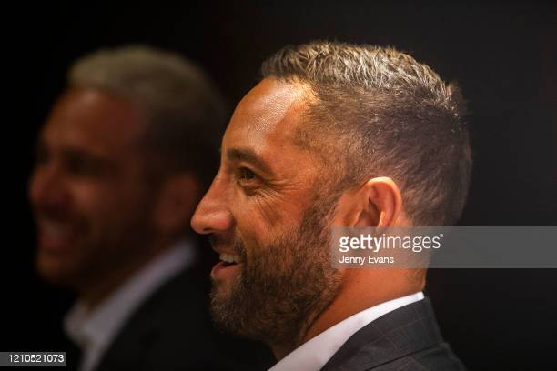 Benji Marshall of the Wests Tigers looks on during the 2020 NRL Season Launch at The Venue on March 05, 2020 in Sydney, Australia.