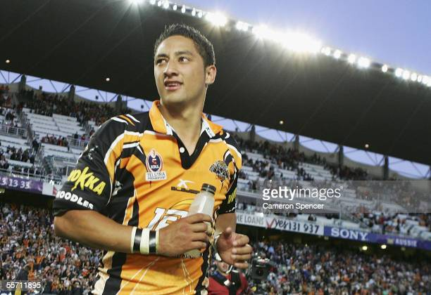 Benji Marshall of theTigers celebrates winning the NRL Semi Final match between the Wests Tigers and the Brisbane Broncos at Aussie Stadium September...
