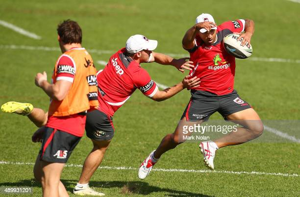 Benji Marshall runs the ball during a St George Illawarra Dragons NRL training session at WIN Stadium on May 13, 2014 in Wollongong, Australia.