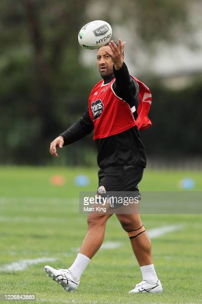 Benji Marshall warms up during a Wests Tigers NRL training session at St. Luke's Park North on May 25, 2020 in Sydney, Australia.