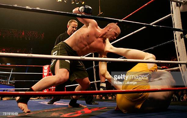 Benji Radach, middleweight fighter for the Anacondas, fights Ryan McGivern of the Silverbacks at the International Fight League event at the Reliant...