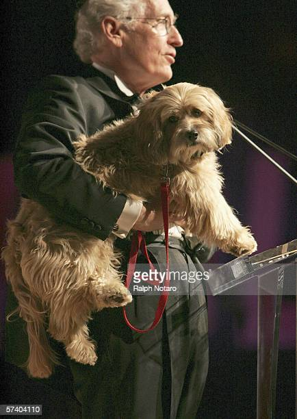 Benji the dog and Joe Camp accept the Family Entertainment Award during the 11th Palm Beach International Film Festival Grand Gala on April 22 2006...