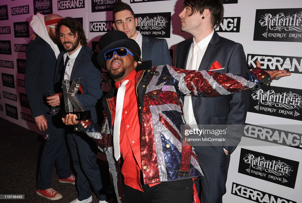 Benji Webb and Skindred with their Devotion award during The Relentless Energy Drink Kerrang! Awards at The Brewery on June 9, 2011 in London, England.